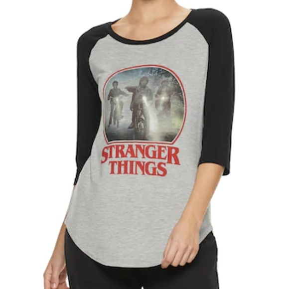 dab60f89 Tops | Stranger Things Raglan Graphic Tee Juniors Size | Poshmark